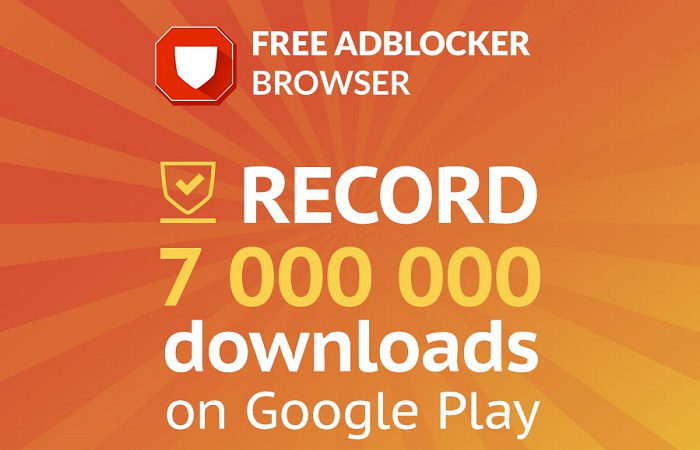 Image aims to illustrate Free Adblocker Browser record - 7 million downloads from Play Store